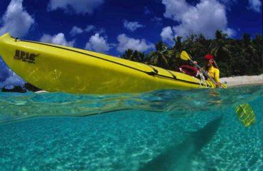 Kayaker Quincy Pentrak at Honeymoon Beach St John VI